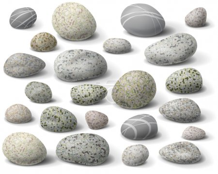 Illustration for The variety  of rocks isolated  on white. - Royalty Free Image
