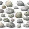 The variety  of rocks isolated  on white....