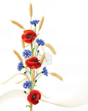 Illustration for Bunch of wheat ears, red poppy flowers and blue cornflowers isolated on white. - Royalty Free Image