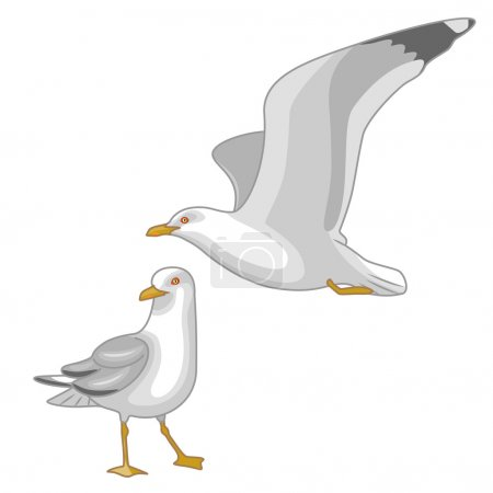 Illustration for Simplified image of flying  and walking seagulls isolated on white. - Royalty Free Image