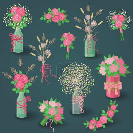 Illustration for Set of pink flowers, floral elements, bouquets in jars and pots on dark background. - Royalty Free Image