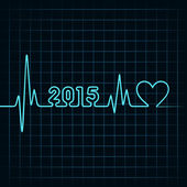 Illustration of heartbeat make happy new year and heart symbol