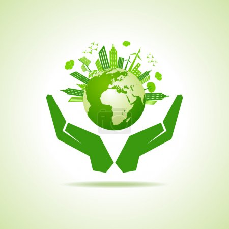 Save nature concept with eco cityscape