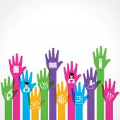 Education icons on hands up