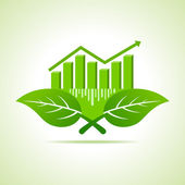 Ecology Concept - business graph with leaves stock vector