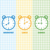 Breakfast Lunch and Dinner time  vector illustration