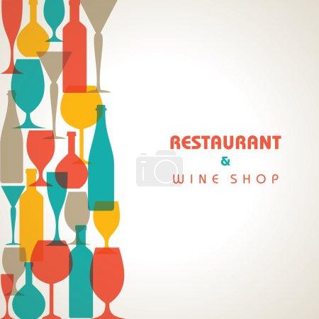 Illustration pour Abstrait verre à cocktail rétro et bouteille fond vecteur de stock - image libre de droit