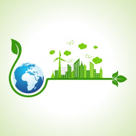 Illustration for Ecology concept with earth - vector illustration - Royalty Free Image
