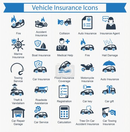 Illustration for Vehicle Insurance Icons Perfect for use in designing and developing websites, as well as printed materials and presentations or any type of design projects. - Royalty Free Image