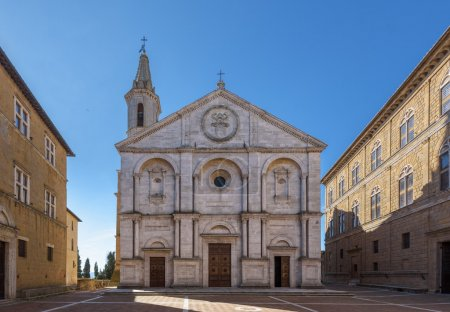 Famous square in front of Duomo in Pienza, ideal Tuscan town, It