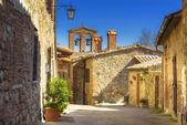 Streets of tiny ancient town in Tuscany, Contignano.