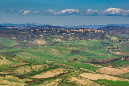 Panoramic aerial view of the Val d'Orcia, Tuscany