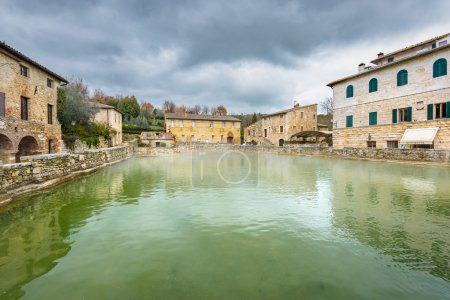Small town famous for its hot water springs in Tuscany, Bagno Vi