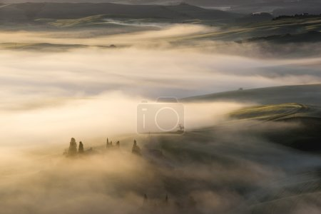 Photo for Fantastic landscape in the mists of light painted. Spring landscape of Tuscany. - Royalty Free Image