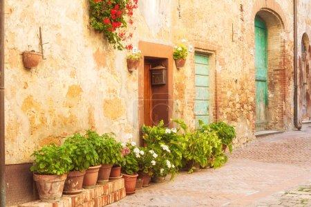 Sunny streets of Italian city Pienza in Tuscany