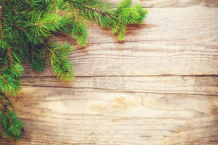Photo for Christmas background on a wooden rustic old table - Royalty Free Image