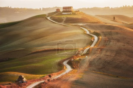 Paysage toscan peint automne lumière, Italie
