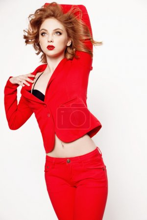 fashion woman in  red suit