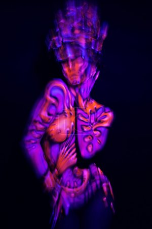 Girl in colorful ultraviolet costume