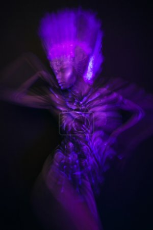 Freak girl in purple costume