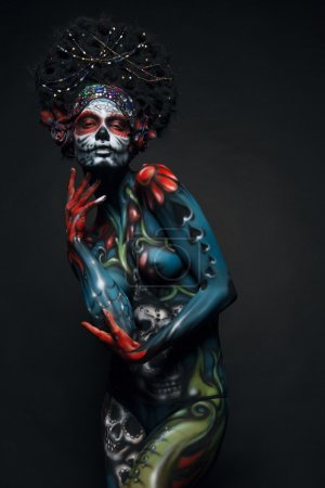 Woman with colorful body art