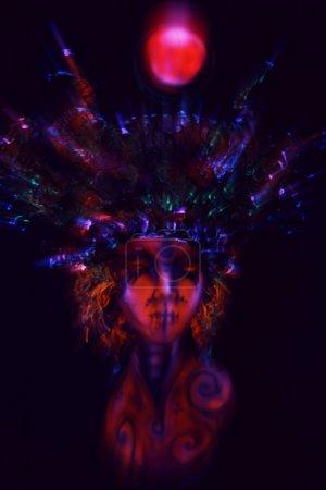 Freak mannequin in ultraviolet  head wear
