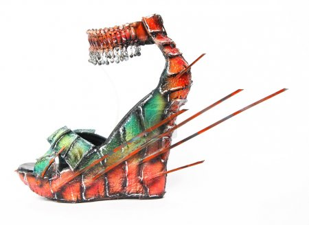 Creative colorful female wedge sandal with spikes ...