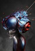 Mannequin in creative head wear