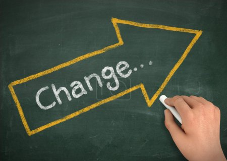 change chalkboard write concept  3d illustration