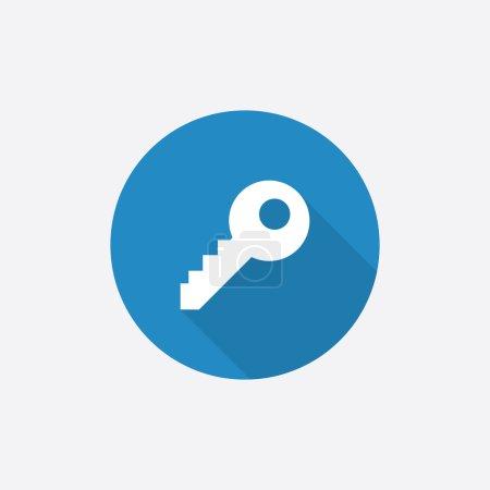 Illustration pour Icône simple bleue plate de clé avec l'ombre longue, d'isolement sur le fond blanc - image libre de droit