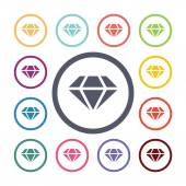 Diamond flat icons set Open round colorful buttons Vecto