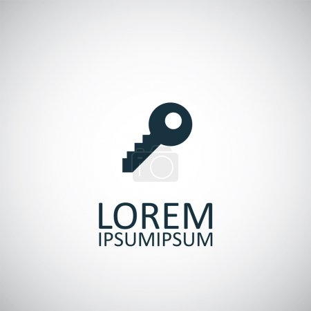 Illustration pour Key isolated black icon logo on white backgroun - image libre de droit
