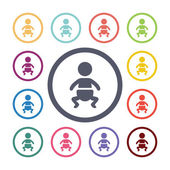 Baby flat icons set Open round colorful buttons Vecto