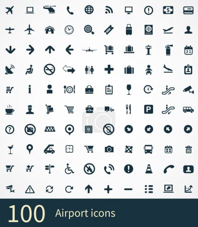 Illustration for 100 airport icons on white backgroun - Royalty Free Image