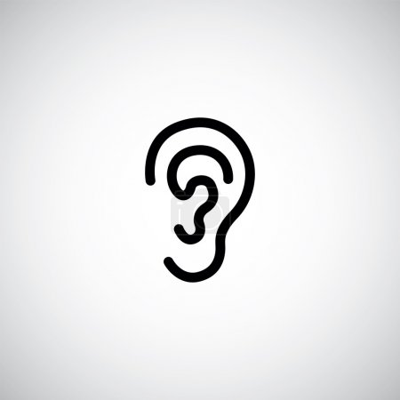 Illustration for Ear icon on white backgroun - Royalty Free Image