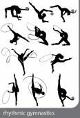 Rhythmic gymnastics on white background