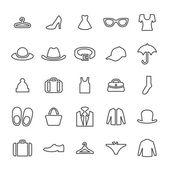 25 outline universal clothes icons thin black on white backgroun