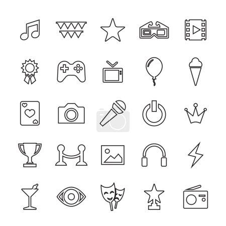 25 outline, universal entertainment icon