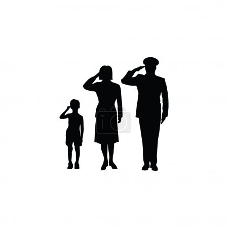 Soldier family salute