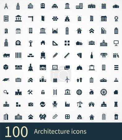 Photo for 100 architecture icon on white backgroun - Royalty Free Image