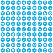 100 animals pets icons blue hexagon backgroun