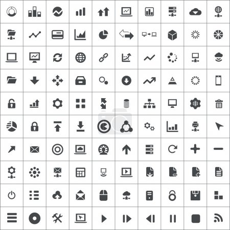 100 big data, database icons