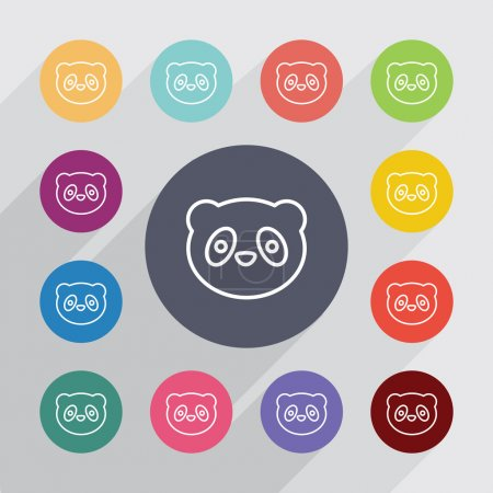 panda outline circle, flat icons se