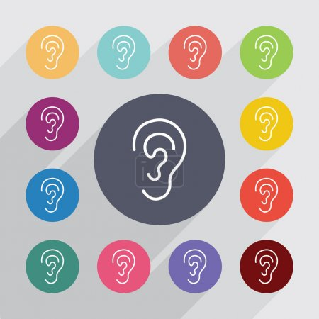 Illustration for Ear outline circle, flat icons set. Round colorful button - Royalty Free Image