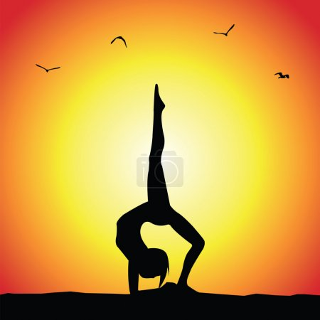 Illustration for Yoga pose silhouette on sunset backgroun - Royalty Free Image
