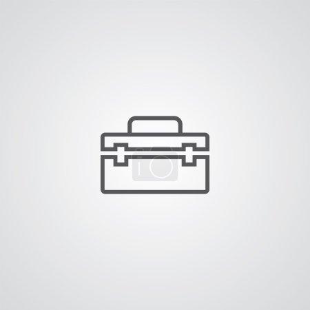 Tools box outline thin symbol, dark on white backgroun