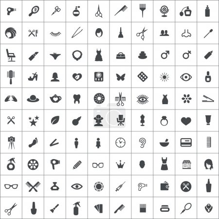 100 beauty salon icons