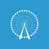 Ferris Wheel icon isolated white on the blue backgroun