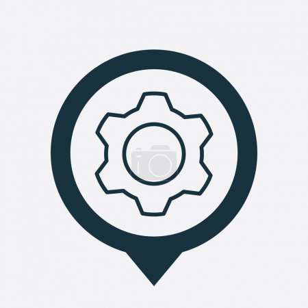 Illustration for Settings icon map pin on white backgroun - Royalty Free Image
