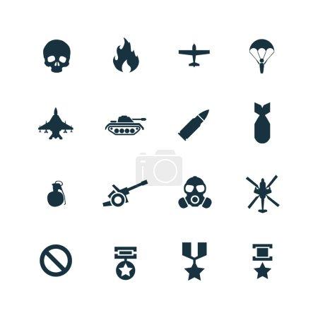 Illustration pour Icônes de guerre sur fond blanc - image libre de droit